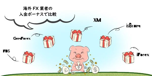 海外FX業者の入金ボーナスで比較の画像